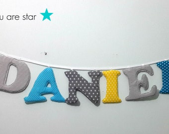presonalzied name banner,daniel name banner,Nursery wall letters, boy nursery letters, Wall hanging fabric letters, baby shower gift