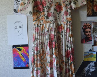 1950s/60s Floral pleated dress - polyester dress - floral dress - pleated dress