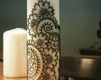 Ivory Henna (Mehndi) Pillar Candle