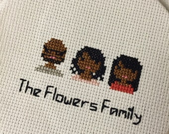 Three Person Made-to-Order Custom Cross Stitch
