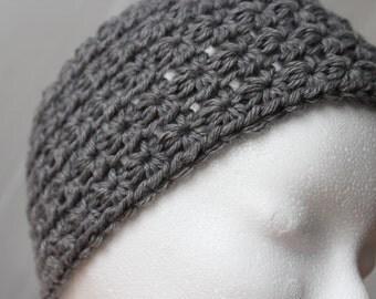 crochet headband in the asterisk pattern, grey
