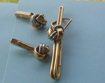 Vintage Swank Men's Silver and Gold Love Knots Cuff links and Tie Bar