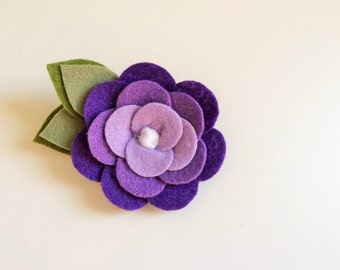 Felt flower headband - Purple ombre felt rose flower with green leaves headband - alligator clip