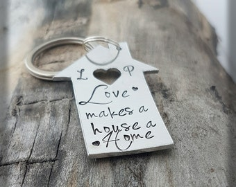 Love makes a house a home keyring personalised keyring new home keyring new house gift personalized keychain hand stamped keyring