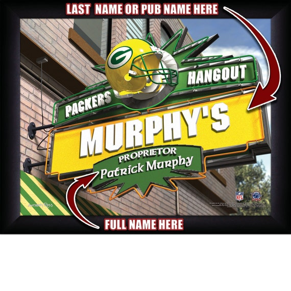 Personalized Nfl Man Cave Signs : Green bay packers personalized nfl football hangout sports pub