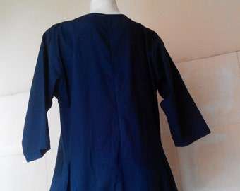 dress in dark blue, cotton