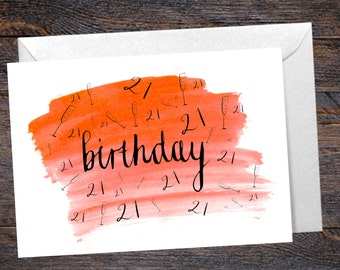 21st Birthday Card with Champagne Detail