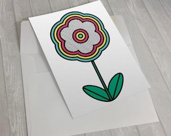Pop Flower greeting card - Pop Art - Retro - 60s