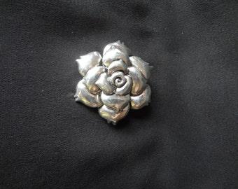 Brooch Pin Plus Pendant Vintage Silvertone Flower 70's