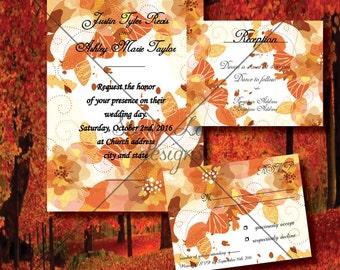 "Wedding Invitation/RSVP/Reception Card ""Autumn Leaves"""