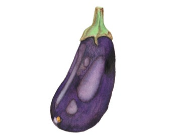 Eggplant / Aubergine - Watercolour Food Illustration Print