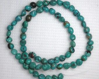 "Small Green Turquoise Gemstone Nugget Beads 16""Std Craft Jewelry # 315"