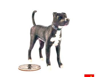Miniature Dog Figurine - Blue Pitbull