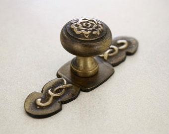 2x Brass Draw Knob/ Handle/ Pull, Rose Detail - PAIR