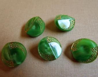 Art Deco Green Glass Gold Motif Button Set of 5.