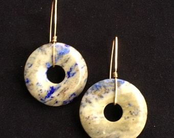 Stone and Brass Earrings - Lapis Lazuli