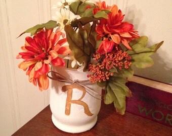 """Rustic Vase....Letter """"R"""""""