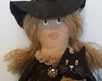 Rustic Witch with kitty cat.
