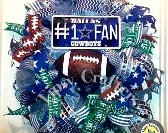 Football wreath - gray blue wreath - dallas wreath - cowboys wreath