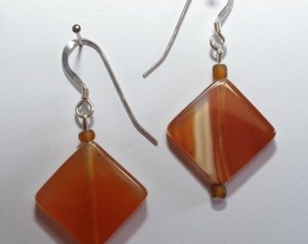 Square carnelian agate earrings