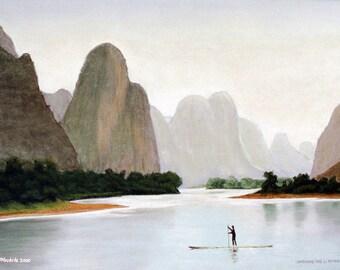 Crossing The Li River Painting