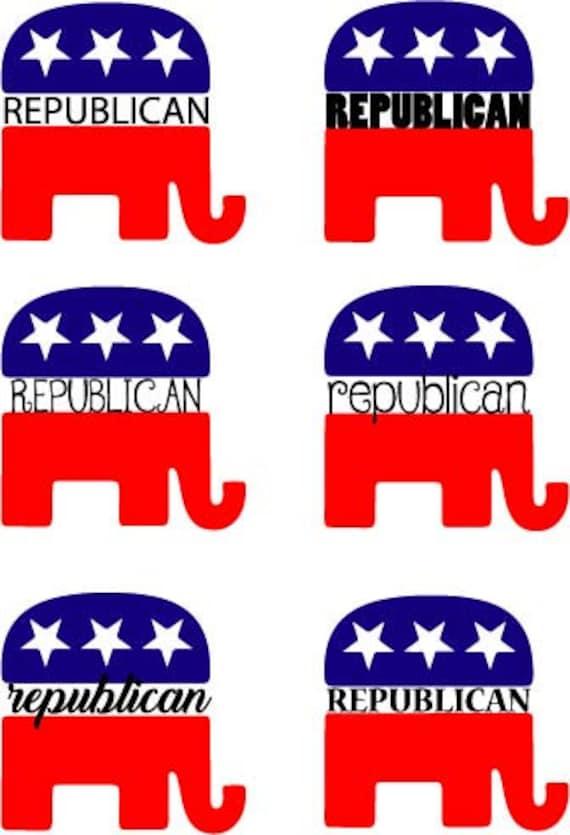 Republican Elephant Vinyl Decal Elephant Yeti Decal Monogram - Elephant monogram car decal