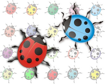 Ladybugs clipart ladybird Colorful Digital Clipart Instant Download ladybird Scrapbooking Elements Personal and Commercial Use