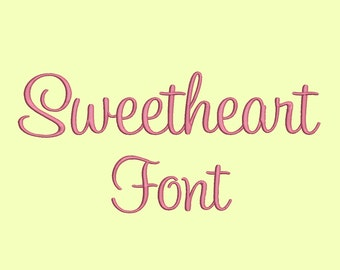 3 Size Sweetheart Embroidery Font, BX fonts Machine Embroidery Designs Embroidery Fonts - 9 File Fomats - INSTANT DOWNLOAD