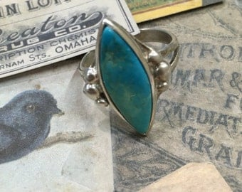 Solitaire - Turquoise - Sterling Silver - Women's Size 7 1/2