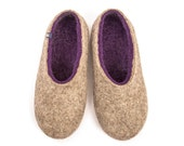 Womens House Slippers, Felted Slippers in pure sheep wool, Purple with Natural Gray on the outside, Clog style comfortable slippers.