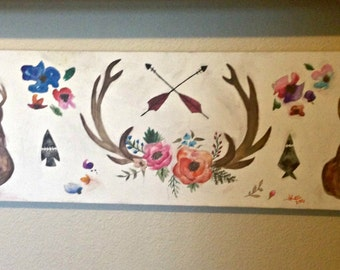 Hand Painted Deer Antler Collage