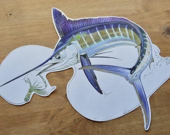 Decal Sticker, Waterproof, Weatherproof, White Marlin, White Marlin Sticker, Fish Decal, Vinyl