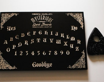 Black Madame Devallia Spirit Board |Wood Carved Ouija Board | Wooden Ouija Board | Occult Witchcraft Seance Pagan Paranormal