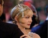 SALE -Great Gatsby Crystal Rhinestone Headpiece,Downtown Abbey 1920's Headband,Art Deco Flapper Style Headpiece