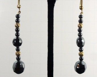 Faceted Hematite Dangle Earrings
