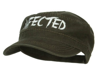 Infected Embroidered Garment Washed Army Cap