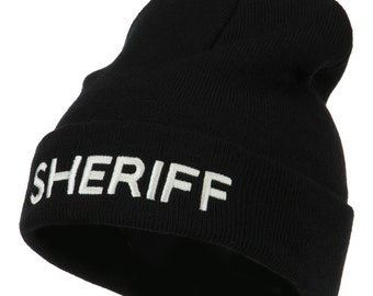 Sheriff Military Embroidered Long Cuff Beanie