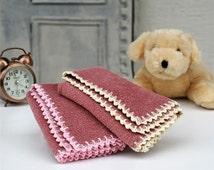 Dusty Rose Baby Towel,Pink Crochet,Cream Crochet,100% Cotton,Baby room,Set of 2