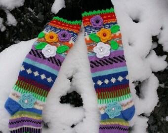 Hand knitted long women socks(high knee)