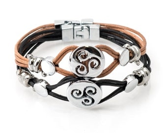 4 strand leather bracelet with 18mm metal bead designs & T lock