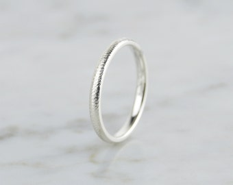 Sterling Silver 2.5mm Hammered Textured Ring  - Minimalist, Hammered