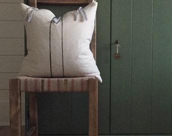 Farmhouse Linen Pillow, Linen and Stripe