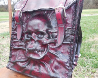 Leather Skull Backpack Post Apocalyptic Computer Bag Red & Black Case