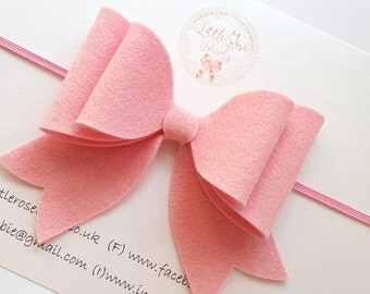 Girl/Baby/Child Adult Oversized 100% Wool Felt French Bow / Baby Headband / Clip / Pink / Can be Made In Any Colour