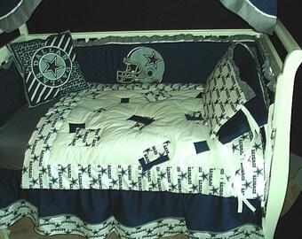 Dallas Cowboys Custom Made 8 pc (or made bumperless or in pink) nursery baby crib bedding set mw NFL Dallas Cowboys fabric NEW