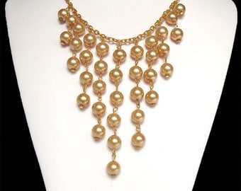 Elegant  Pearl Cascade Necklace, Fashion Pearl Necklace, Handmade Pearl Necklace, Pearl Necklace, Freshwater Pearls Necklace