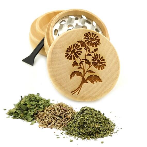Flowers Engraved Premium Natural Wooden Grinder Item # PW7116-9