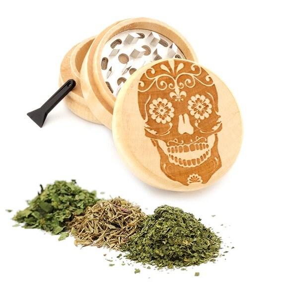 Sugar Skull Engraved Premium Natural Wooden Grinder Item # PW050916-90