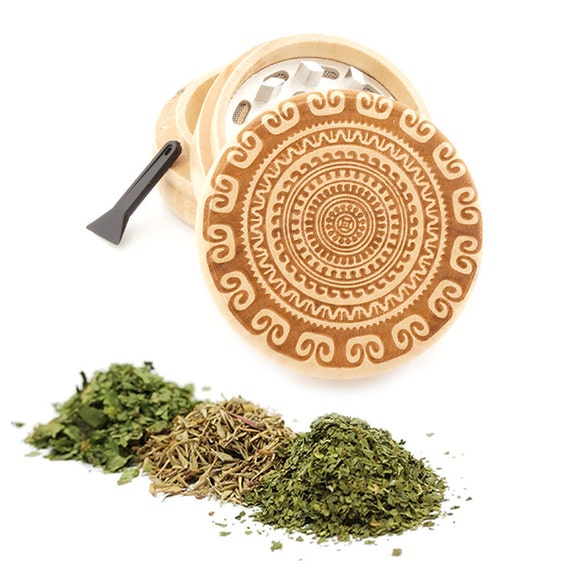 Psychedelic Engraved Premium Natural Wooden Grinder Item # PW050916-122