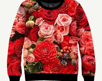Red Roses - Men's Women's Sweatshirt | Sweater - XS, S, M, L, XL, 2XL, 3XL, 4XL, 5XL